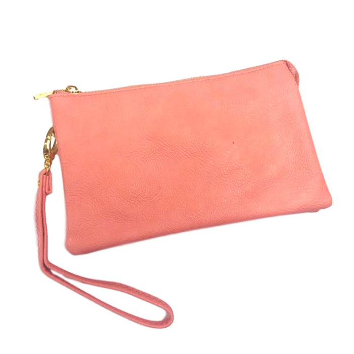 Coral Medium Leather Wristlet