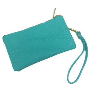 Teal Small Leather Wristlet