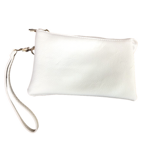 White Medium Leather Wristlet