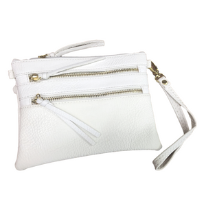 White Double-Zipper Leather Wristlet