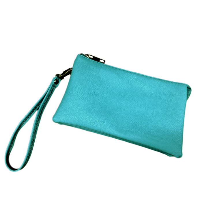 Teal Medium Leather Wristlet