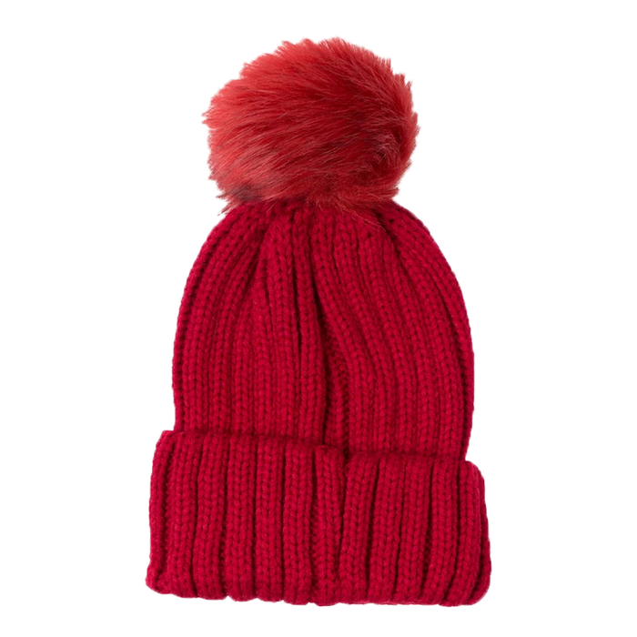 Top It Off Pom Beanie-Red