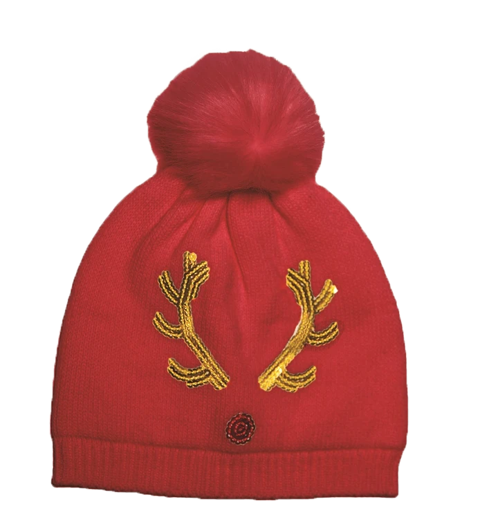 Top It Off Rudolph Beanie-Red