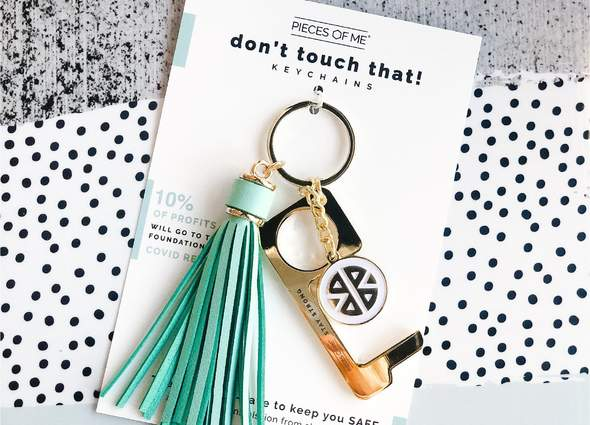 Pieces of Me-Don't Touch That Keychain-Gold/Teal