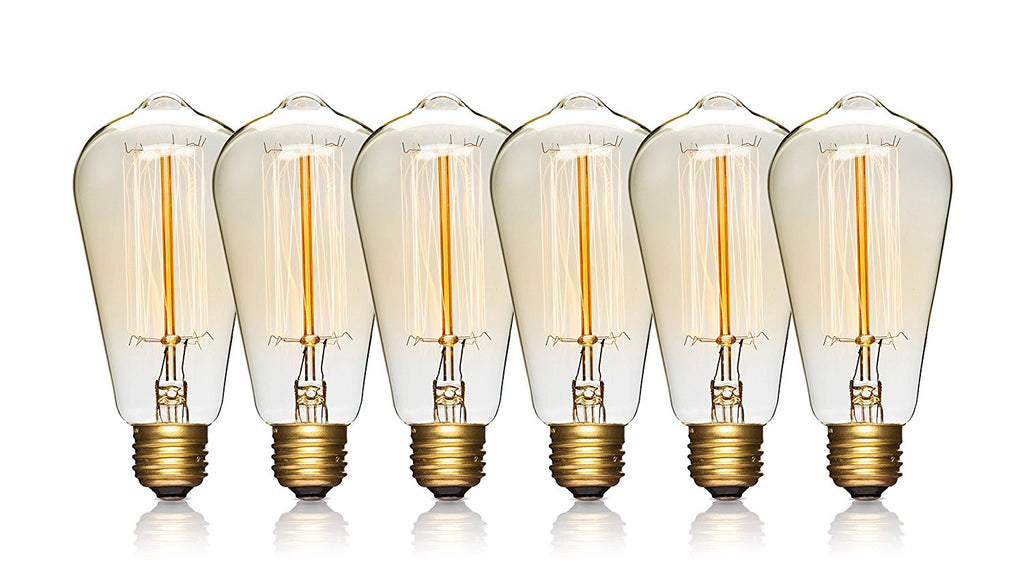 Edison Light Bulbs - 6 Pack - 60 Watts - Incandescent Squirrel Cage, E26 Regular Base Dimmable, Vintage Light Bulbs, Antique Light Bulbs
