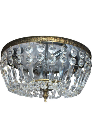 Large Crystal Flush Mount Ceiling Light - Vintage