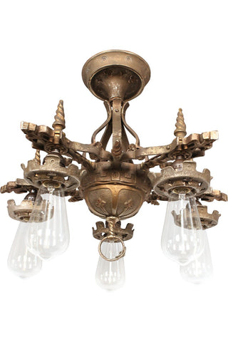 1920's Chandelier - Bronze Semi Flush Ceiling Fixture