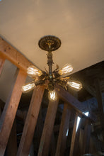 Vintage Brass Chandelier - Flush Mount Light Fixture