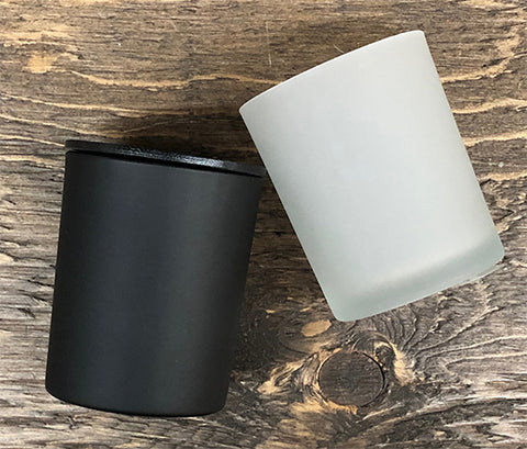 Matte black frosted candle jar