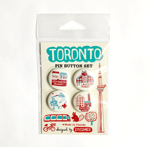 Dasher Toronto pin button set
