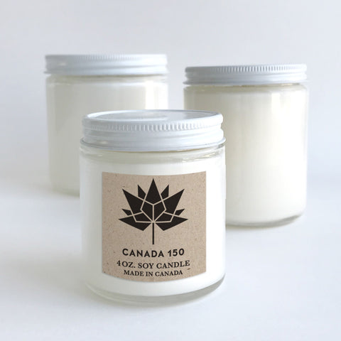 Canada 150 candle with metal lid kraft label