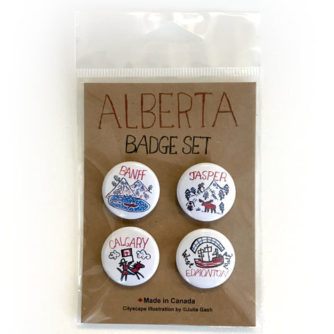Alberta Cityscape pin button set