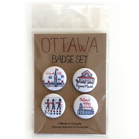 Ottawa Cityscape pin button set