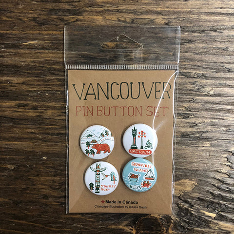 Vancouver Cityscape pin button set
