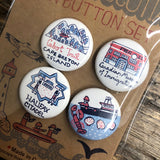 Nova Scotia Cityscape pin button set