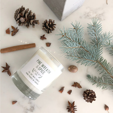Pine Wreath & Spice soy wax candle