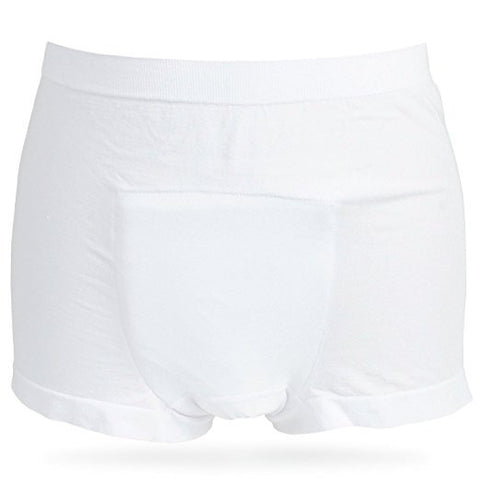 Incontinence Underwear for Men Short Leg Boxer Briefs (White)