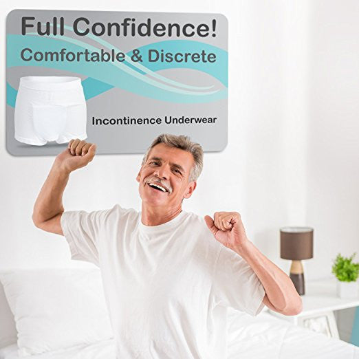 Incontinence Underwear Mens Short Leg Boxer Briefs with Super-absorbent (14 Oz) White Bamboo Charcoal Pad - Continuon Living