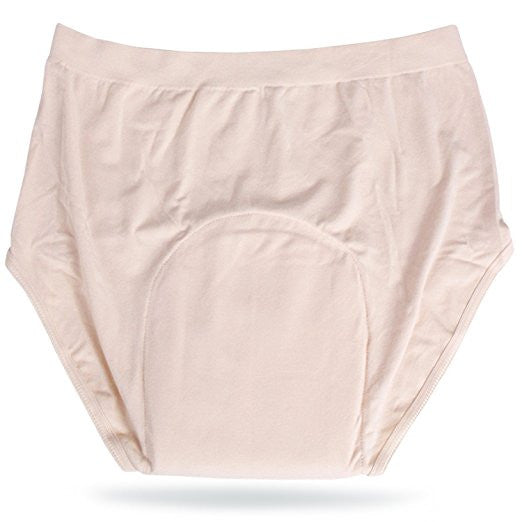 Incontinence Underwear Womens High Banded Brief (Beige) with Super-absorbent (14 Oz) White Bamboo Charcoal Pad. Beige - Continuon Living
