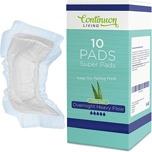 Incontinence Liner XL Super Pads With Wings (10 Pack) Absorbs 500ml, Daytime or Overnight Aids for Men and Women, Discrete and Secure - Continuon Living