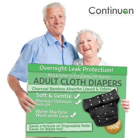 Reusable Adult Diapers for Urinary Incontinence with Washable Bamboo Charcoal Absorbent Pad (Black) - Continuon Living