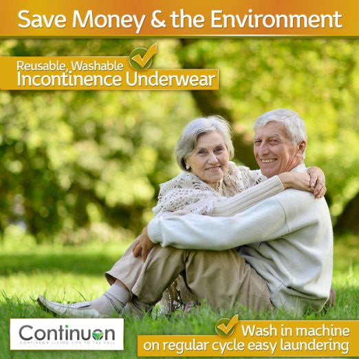 Incontinence Underwear for Women. Pure Cotton Washable Panties with a Super-absorbent(7oz) Pad - Continuon Living