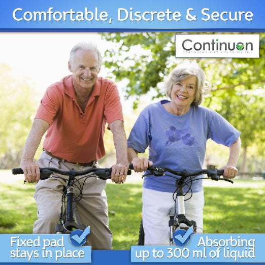 Incontinence Underwear for Men. Pure Cotton Washable Panties with Super-absorbent (7 Ounce) Pad - Continuon Living