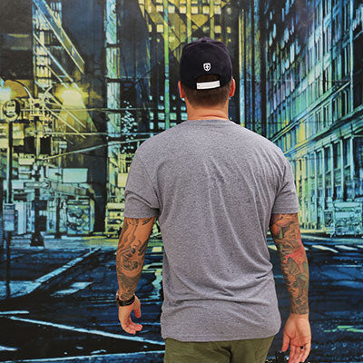 Kekoa walking in cityscape painting