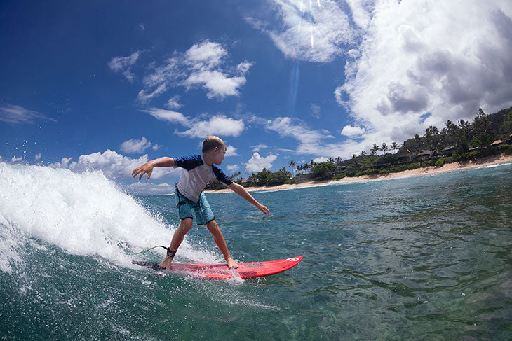 Pancho's son surfing