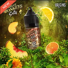 Puris  Peach Citrus by 12 Monkeys nic salts