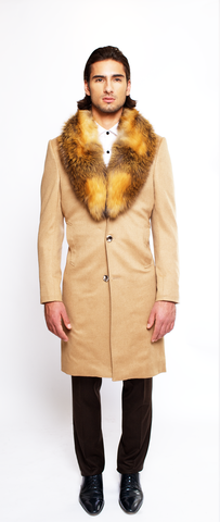 CAMEL FITTED 4-BUTTON SINGLE BREASTED CASHMERE TOPCOAT
