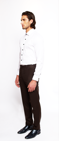 DEEP BROWN FITTED FLANNEL DRESS TROUSER