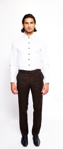 CRISP WHITE FITTED ZERO-BUTTON COTTON DRESS SHIRT