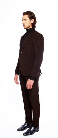 DEEP BROWN FITTED CORDUROY SUIT TROUSER