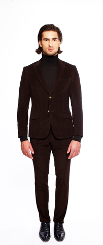 DEEP BROWN FITTED 2-BUTTON SINGLE BREASTED CORDUROY SUIT JACKET