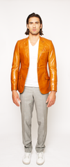 GOLDEN-BROWN FITTED 2-BUTTON SINGLE BREASTED LEATHER BLAZER