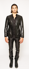 JET BLACK FITTED 2-BUTTON SINGLE BREASTED LEATHER BLAZER