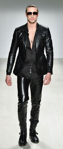 JET BLACK FITTED LEATHER PANTS