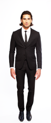 JET BLACK FITTED WOOL SUIT TROUSER