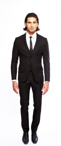JET BLACK FITTED 2-BUTTON SINGLE BREASTED WOOL SUIT JACKET