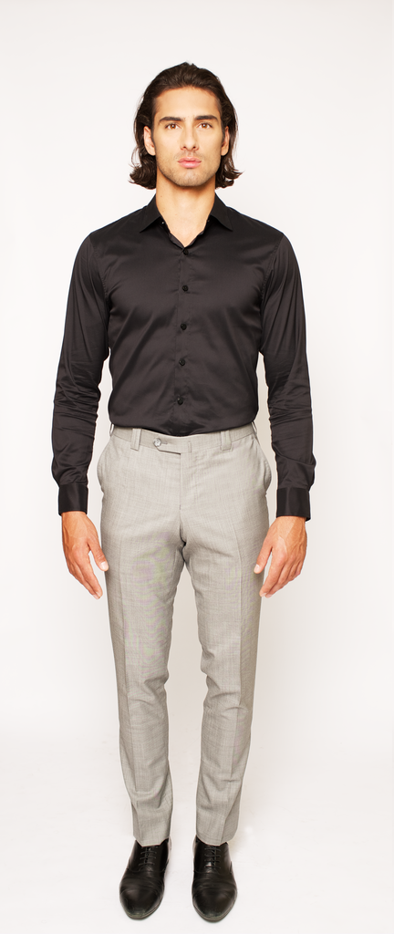 JET BLACK FITTED COTTON DRESS SHIRT