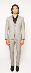 LIGHT GREY FITTED 2-BUTTON SINGLE BREASTED WOOL SUIT JACKET