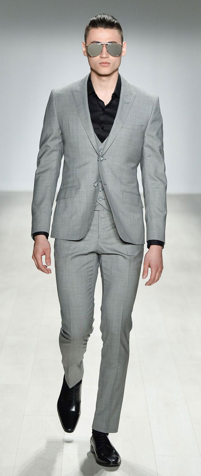 LIGHT GREY FITTED WOOL SUIT TROUSER