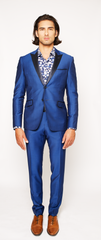 COBALT BLUE FITTED 2-BUTTON SINGLE BREASTED WOOL SUIT JACKET W/ NAVY BLUE SILK LAPEL