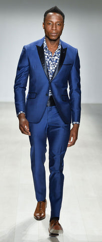 COBALT BLUE FITTED WOOL SUIT TROUSER