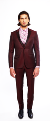 DEEP WINE FITTED 2-BUTTON SINGLE BREASTED WOOL SUIT JACKET