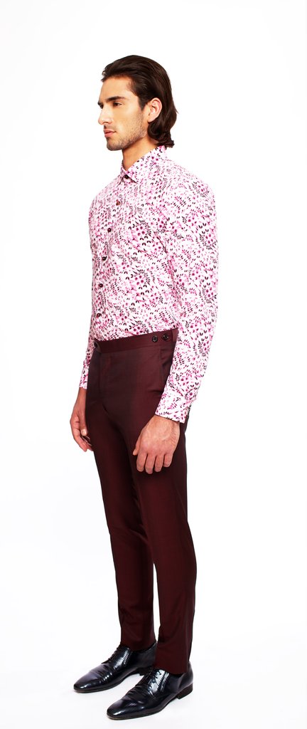 LIGHT PINK/DEEP WINE LEAF PRINT FITTED COTTON DRESS SHIRT