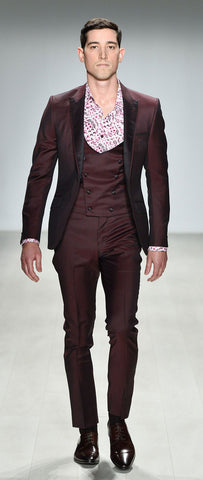 DEEP WINE FITTED WOOL SUIT TROUSER