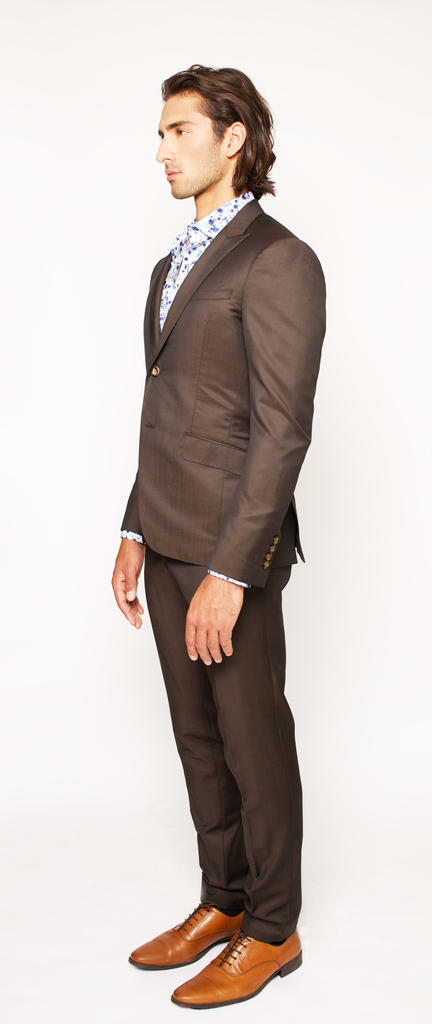 DEEP BROWN FITTED 2-BUTTON SINGLE BREASTED WOOL SUIT JACKET