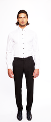 JET BLACK FITTED WOOL TUXEDO TROUSER W/ BLACK SATIN STRIPE